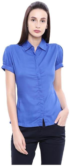 Women Solid Classic Collar Top