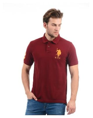e9dba796 Buy U.S. Polo Assn. Men Slim Fit Polo Neck Solid T-Shirt - Maroon ...