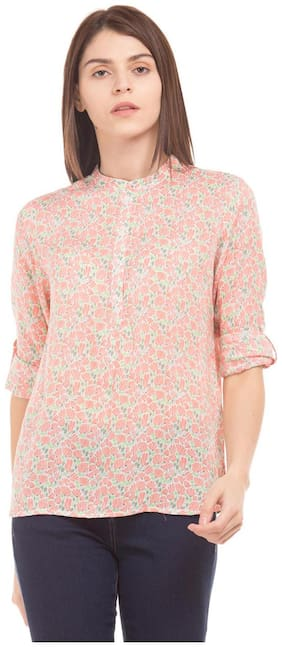 U.S. Polo Assn. Women Crepe Printed - A-line Top Blue