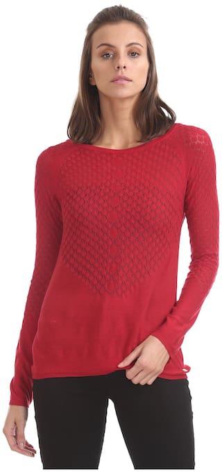 U.S. Polo Assn. Women Self design Regular top - Red