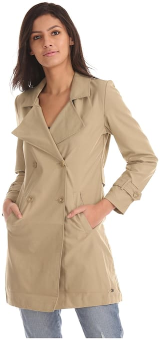 U.S. Polo Assn. Women Solid Regular FIt Coat - Beige