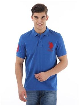 U S Polo Assn Men Slim Fit Polo Neck Solid T Shirt Blue