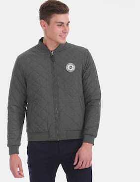 Men Polyester Blend Long Sleeves Quilted Jacket