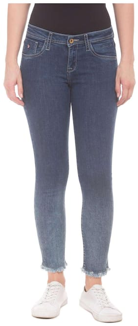 U.S. Polo Assn. Women Slim Fit Mid Rise Solid Jeans - Grey