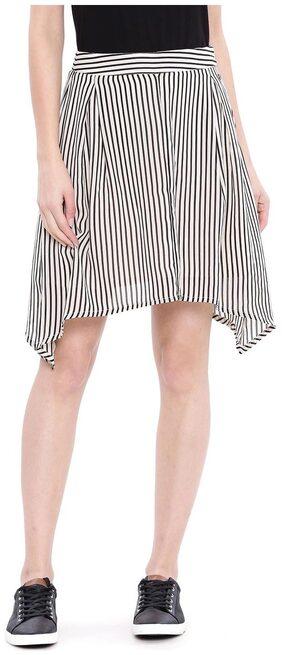 U.S. Polo Assn. Striped Assymetric Skirt Mini Skirt - Grey