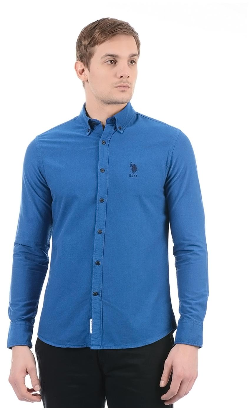 0ea8d34e482ef Buy U.S. Polo Assn. Men Regular Fit Casual shirt - Blue Online at ...