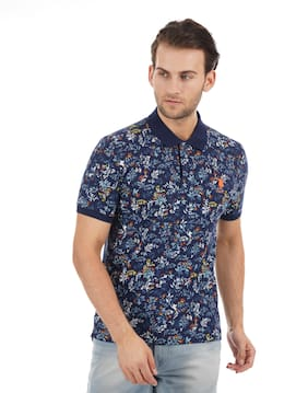 Men Polo Collar Floral T-Shirt