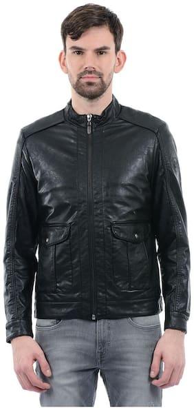 Men PU Blend Long Sleeves Leather Jacket