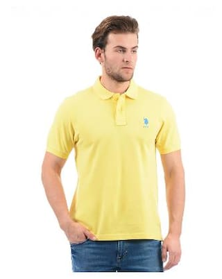 dd0f0a71820 Buy U.S. Polo Assn. Men Slim Fit Polo Neck Solid T-Shirt - Yellow ...