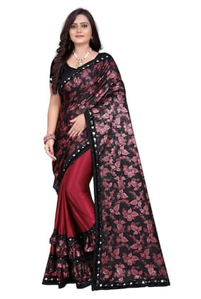 U S Tex Printed Fashion Lycra Blend Saree (Maroon)