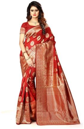 U S TEX  Woven Jacquard Woven Red Designer Saree With Blouse
