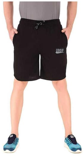 UBOF Men Black Regular Fit Regular Shorts
