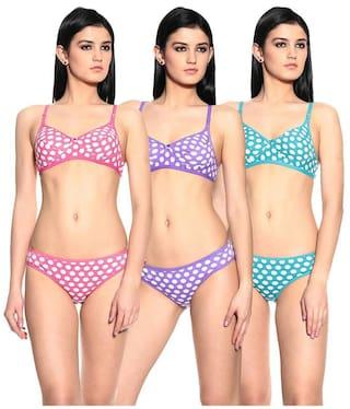 Buy Ultrafit Multi Cotton Pack of 3 Bra Panty Set Online at Low ... 6b21696f0
