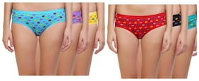 ZUKUNFT FASHION Pack Of 6 Printed Mid Waist Hipster Panty - Multi