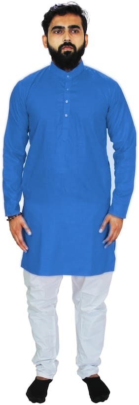 UNIPLANET STORE Blue & White Solid Kurta and Pyjamas