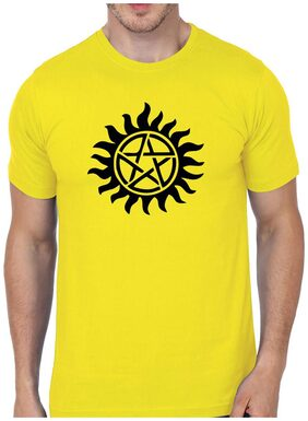UNIQUE STATUS MEN ROUND NECK YELLOW PRINTED T-SHIRT