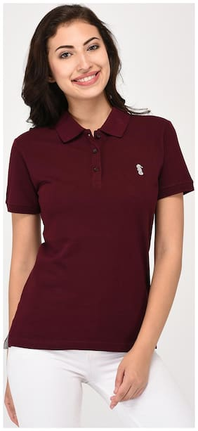 UNITED CLASSIC Women Solid Polo neck T shirt - Maroon