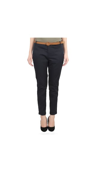 United Colors of Benetton Black Cotton Trousers for Ladies