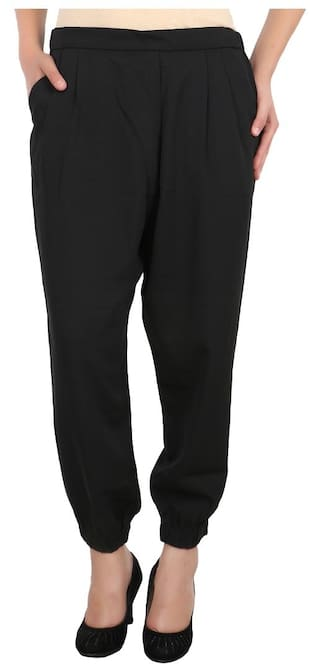 United Colors of Benetton Black Polyester Trousers for Ladies