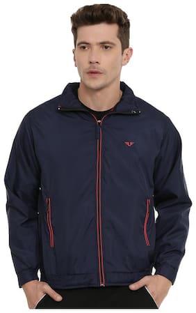 UNSULLY Men Navy blue Solid Windcheater jacket