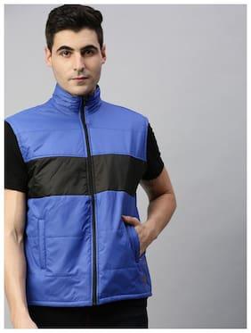 Men Polyester Sleeveless Biker Jacket