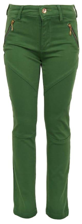 Upperclass Upperclass Green Cotton Casual Wear Trouser