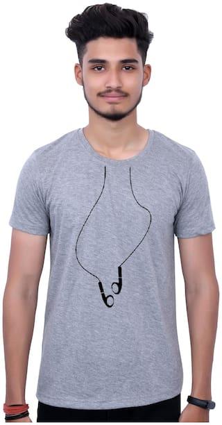 upperwear Men Grey Regular fit Cotton Round Neck T-Shirt