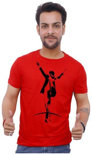upperwear Men Red Regular fit Cotton Round Neck T-Shirt