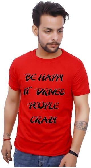 upperwear Men Red Regular fit Cotton Round neck T-Shirt - Pack Of 1