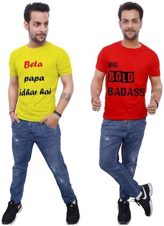 upperwear Men Red & Yellow Regular fit Cotton Round Neck T-Shirt -Pack of 2