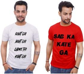 upperwear Men Red & White Regular fit Cotton Round neck T-Shirt - Pack Of 2