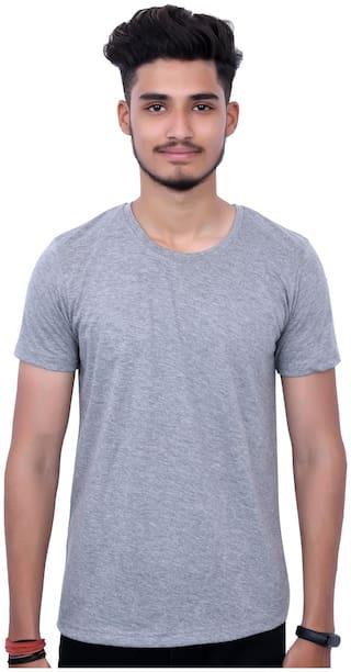 upperwear Men Grey Regular fit Cotton Round neck T-Shirt - Pack Of 1