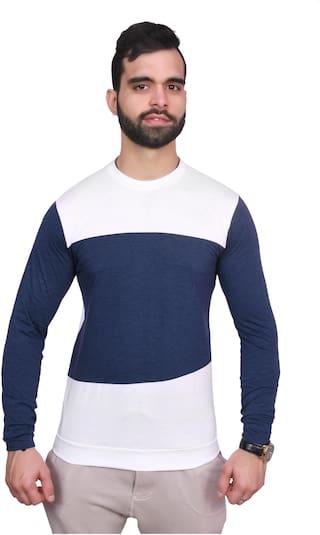 upperwear Men White & Blue Regular fit Cotton Round neck T-Shirt - Pack Of 1