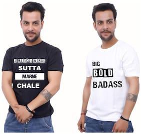 upperwear Men Black & White Regular fit Cotton Round neck T-Shirt - Pack Of 2