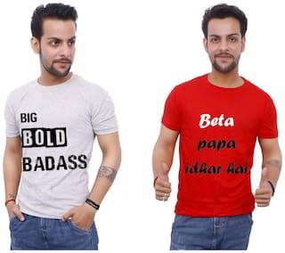 upperwear Men Red & White Regular fit Cotton Round Neck T-Shirt -Pack of 2