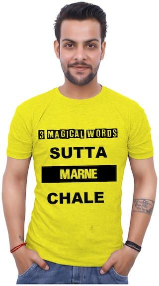 upperwear Men Yellow Regular fit Cotton Round Neck T-Shirt