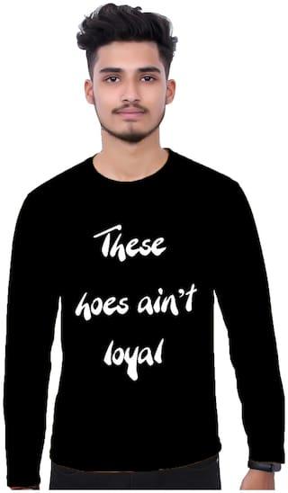 upperwear Men Black Regular fit Cotton Round neck T-Shirt - Pack Of 1