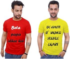 upperwear Men Red & Yellow Regular fit Cotton Round neck T-Shirt - Pack Of 2
