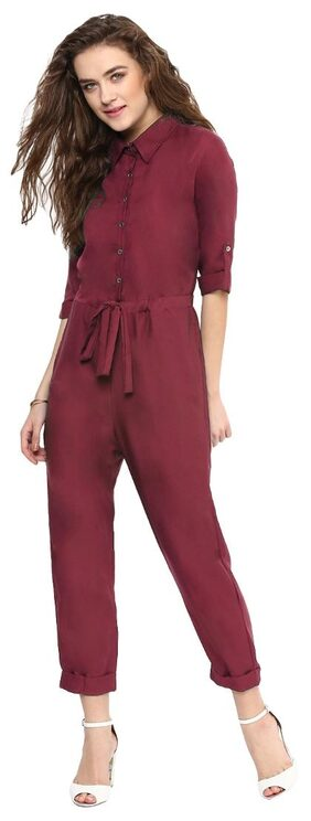 Uptownie Lite Maroon Solid Collared Roll up Jumpsuit