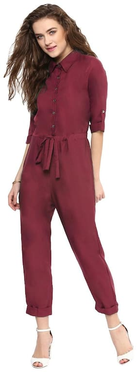 UPTOWNIE Solid Jumpsuit - Red