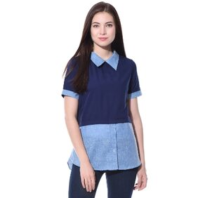 Uptownie Lite Blue Solid Collared Chambray Shirt