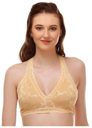 bd92fa1a8d Buy Urbaano Scalloped lace Bralette bra - Gold - URA1144S Online at ...