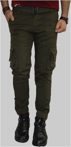 Urban Legends Cotton Solid Casual Trouser Green color