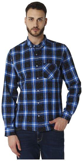 URBAN SCOTTISH Men Blue Checked Slim Fit Casual Shirt