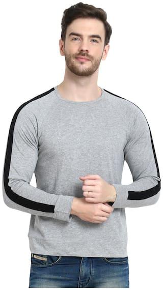 URBAN VIEW Men Grey Regular fit Cotton Round Neck T-Shirt