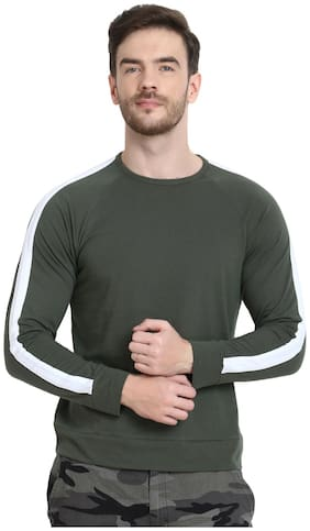 URBAN VIEW Men Olive Regular fit Cotton Round neck T-Shirt - Pack Of 1