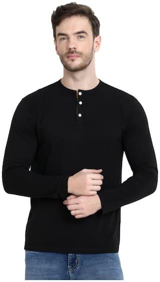 URBAN VIEW Men Black Regular fit Cotton Henley Neck T-Shirt