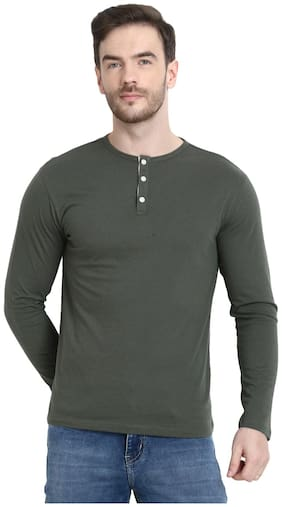 URBAN VIEW Men Olive Regular fit Cotton Henley neck T-Shirt - Pack Of 1