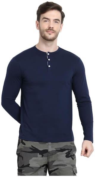 URBAN VIEW Men Navy blue Regular fit Cotton Henley neck T-Shirt - Pack Of 1