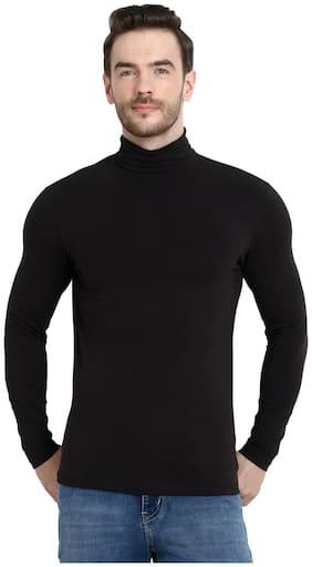 URBAN VIEW Men Black Regular fit Cotton High neck T-Shirt - Pack Of 1